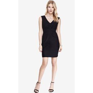 Express Sexy Black V-neck Ruched Sheath Dress